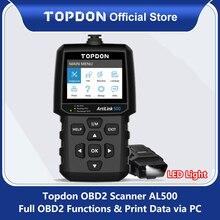 TOPDON AL500 Obd2 coche herramienta de diagnóstico OBD 2 escáner automotriz motor Herramienta de Análisis de lector de código Obdii herramienta de escaneo