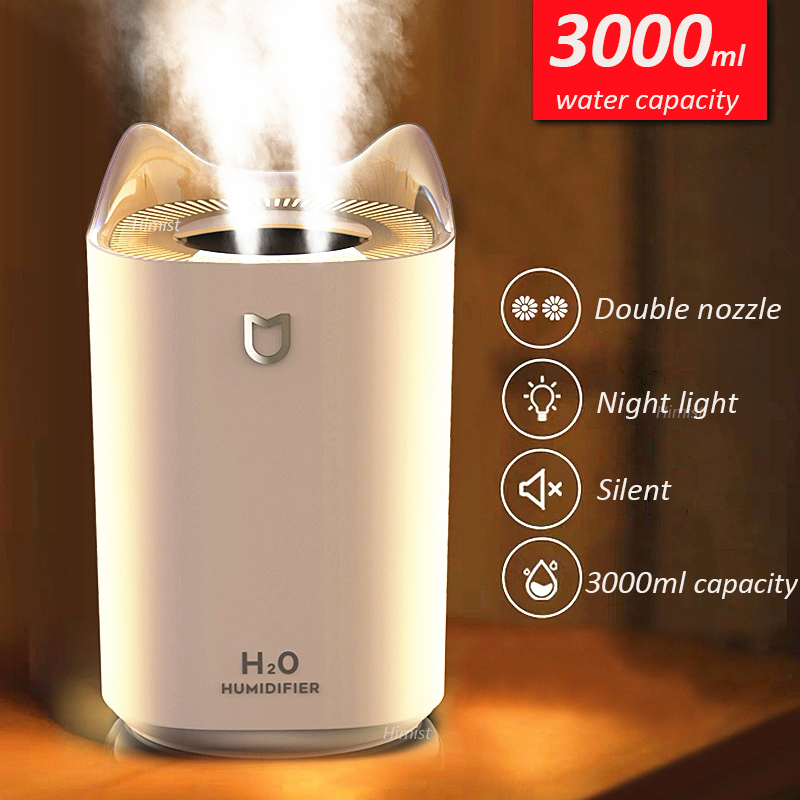 Увлажнитель воздуха для дома, 3000 мл, двойная насадка, аромараспылитель холодного тумана, яркий светодиодный ультразвуковой увлажнитель воздуха с USB|Увлажнители воздуха|   | АлиЭкспресс