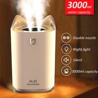 Humidificateur d'air à la maison 3000ML Double buse diffuseur d'arôme de brume fraîche avec coloré lumière LED