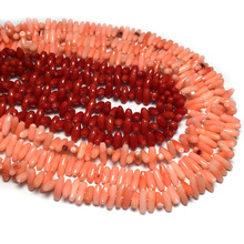 Horizontal hole rice shaped coral beads 8X14mm length 38cm C