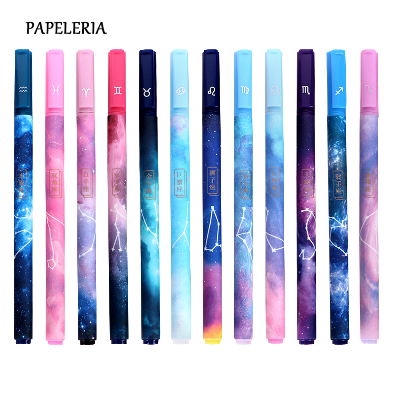 3pcs/set Kawaii Constellation Gel Pen Cute Star Universe 0.5mm Black Ink Neutral Pen For Office Student Stationery Supplies Gift