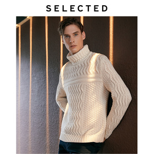 Image 2 - SELECTED Mens Winter High necked Pullover New Woolen Knitted Turtleneck Sweater Clothes L