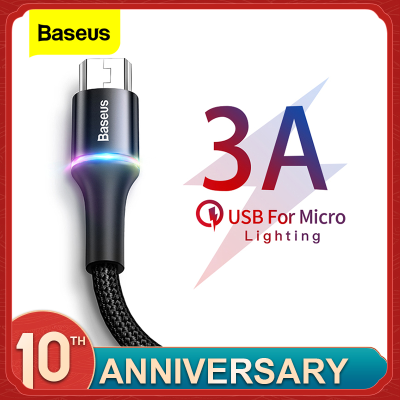 Baseus Led-Lighting Wire-Cord Microusb-Cable Fast-Charging-Charger Mobile-Phone Xiaomi title=
