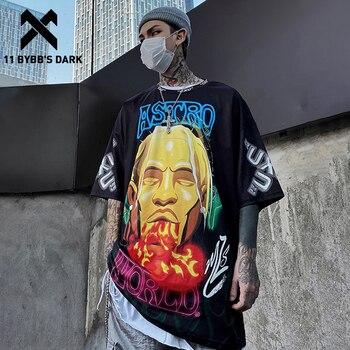 11 BYBBS DARK MEN 2020 camiseta de Hip-Hop Streetwear hombres imagen imprimir pantalón corto Casual manga verano hombres moda algodón camiseta