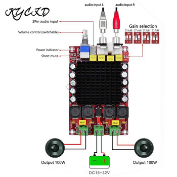 TDA7498 Digital Amplifier Board 100W*2 2.0 Channel Power AMP Class D Stereo Audio Amplifier DC 15-32V XH-M510 For Home Speaker
