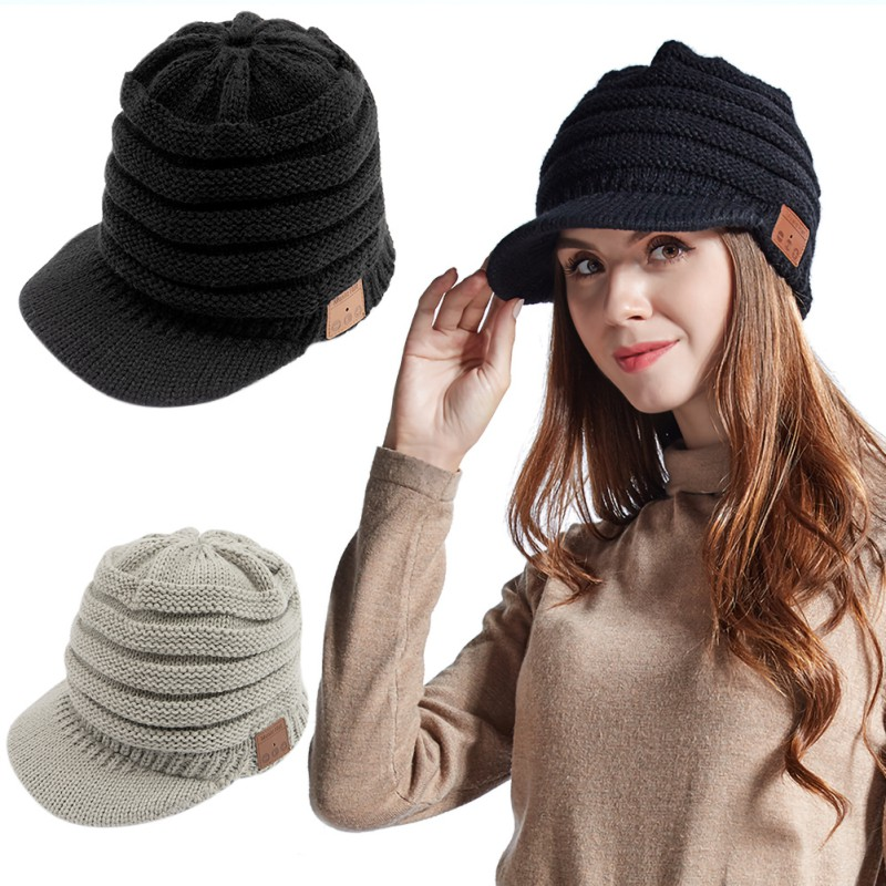 New Wireless Headband Bluetooth 5.0 Headphones Winter Autumn Soft Warm Beanie Music Earphones Cap