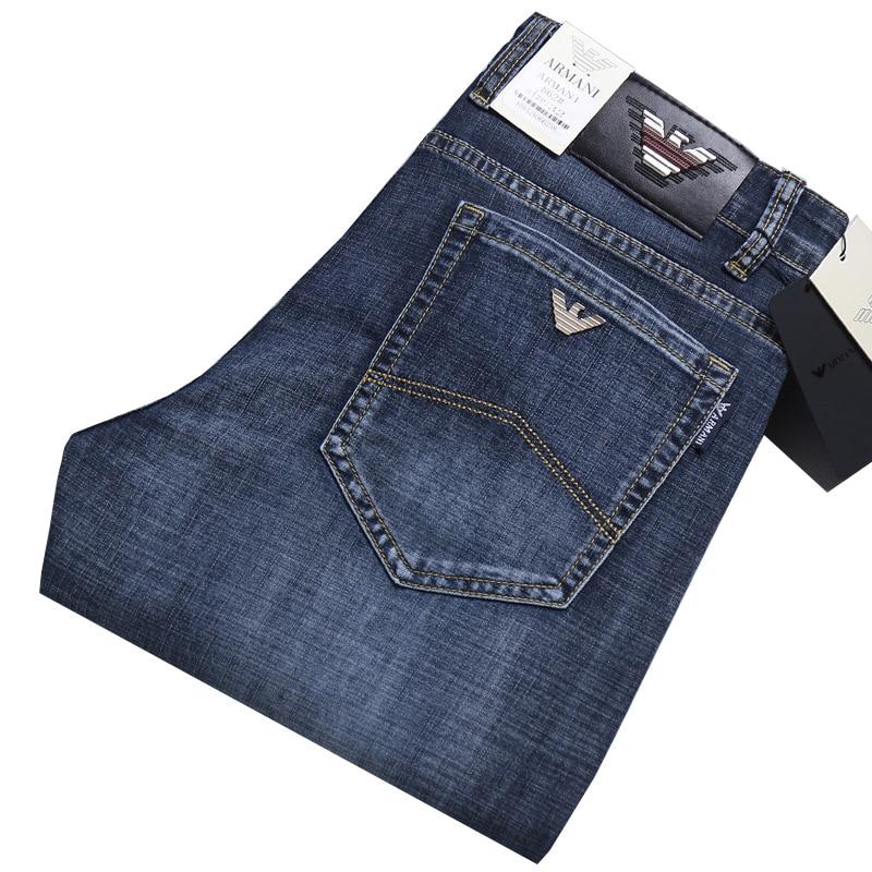 Europäische männer Marke Denim Jeans Regular Fit Gerade Mode Dünne Stil Business-Hose Männlichen Smart Casual Jeans Hosen