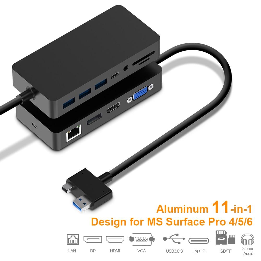 4K HDMI porta microfono audio 3 porte USB 3.0 Baseus Adattatore hub USB C VGA lettore di schede SD // TF adattatore 10-in-1 tipo C con porta Ethernet RJ45 1000M alimentazione USB-C