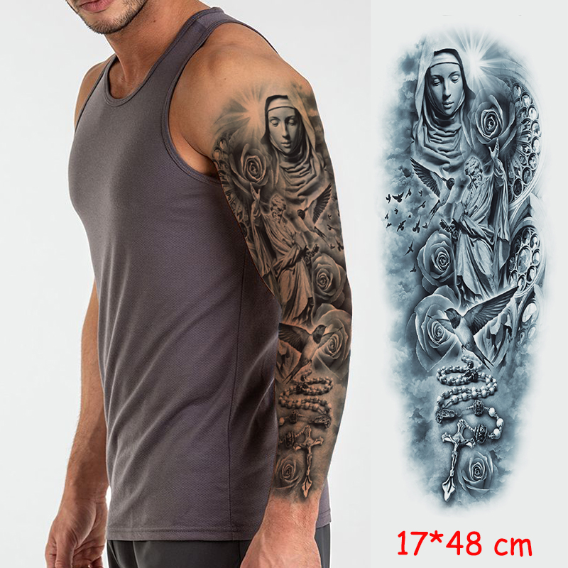 Waterproof Temporary Tattoo Sticker Full Arm Large Virgin Cross Tatoo Stickers Flash Fake Tattoos For Men Women