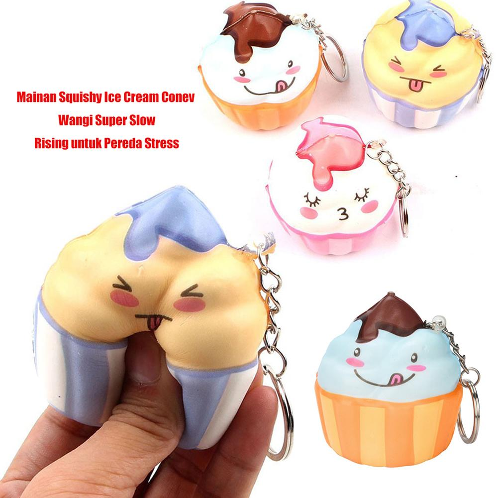 Cartoon Squishied Ice Cream Cone Slow Rising Ani-Stress Toy Pendant Keychain Bag Decor Stress Reliever Toy Random Color