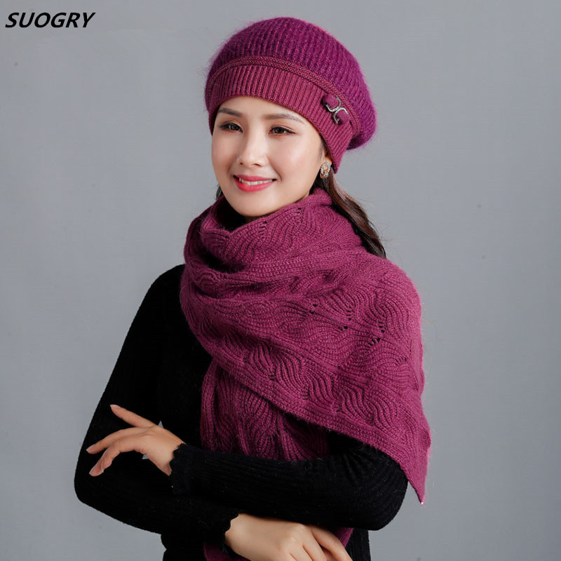 2019 New Winter Thick Warm Velvet Women's Berets Fashion Elegant Female Hat Scarf Bow Headdress Decorated Rabbit Fur Hats