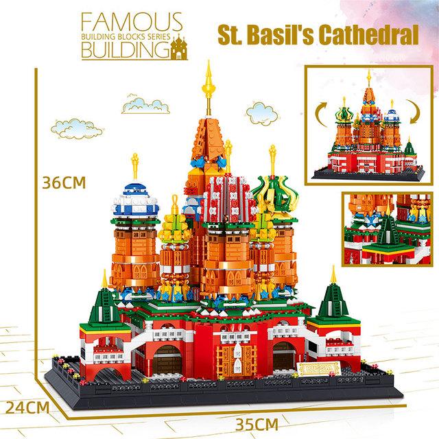 Creator Bricks Street View City Architecture St.Vassily Cathedral Notre-Dame De Paris Church Building Block Toys for Children