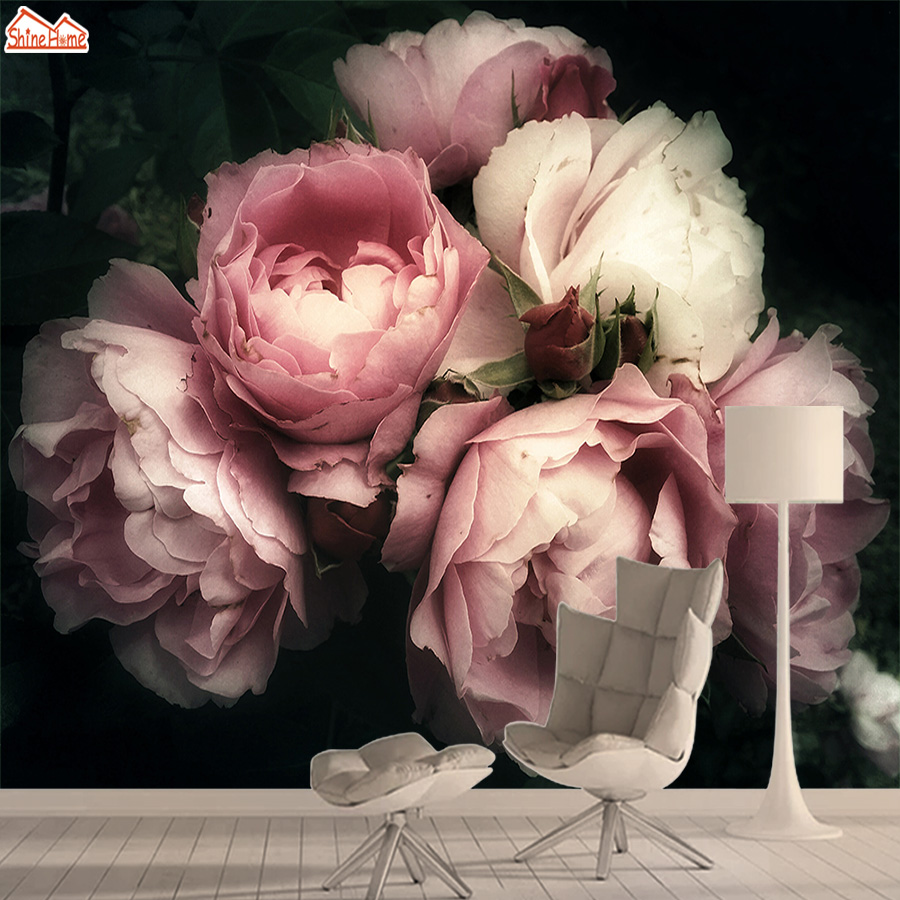 Rose Floral Nature Wall Papers Home Decor Vinyl 3d Photo Mural Wallpaper Wallpapers For Living Room Kids Peel And Stick Bedroom
