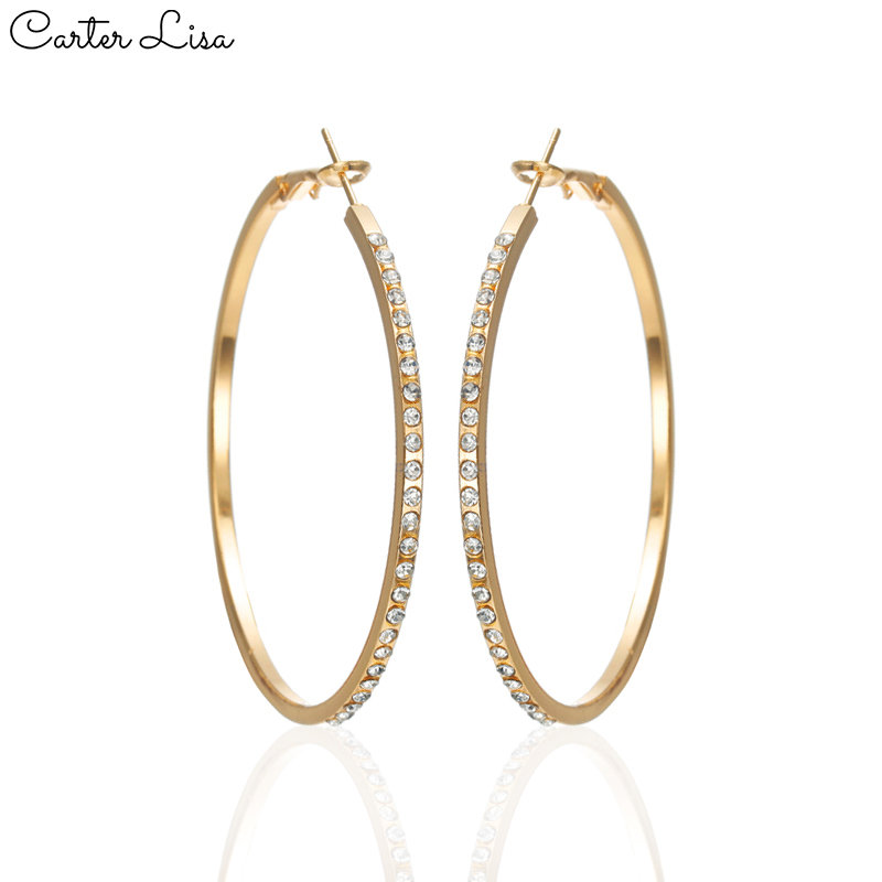 CARTER LISA 2019 Fashion Geometric Pave Rhinestone Hoop Earrings Gold&Sliver Color For Women Big Circle Round Earrings Jewelry