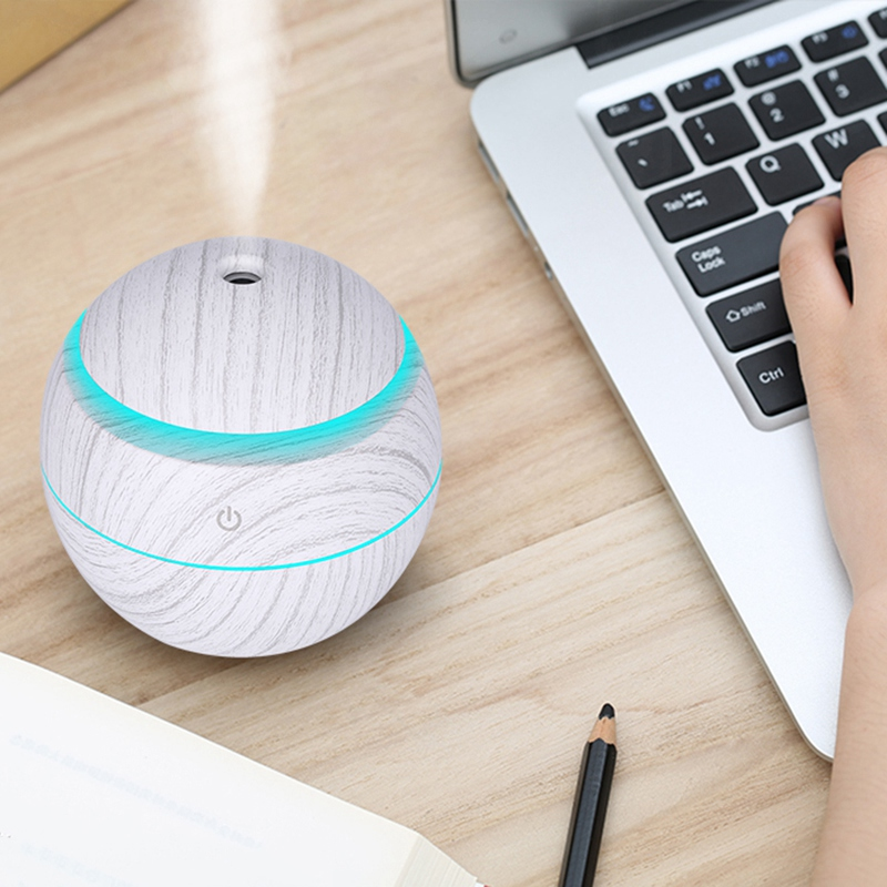 New 130Ml Mini Electric Air Humidifier Usb Charge Aroma Diffuser Ultrasonic White Wood Grain With 7 Color Led Light For Home