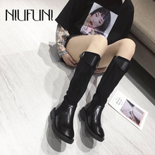Suede Mid-Calf Round Toe Low Heel Mixed Color Women's Boots Zipper Buckle Boots Slim Women's Slip On Shoes NIUFUNI Martin Boots цена 2017