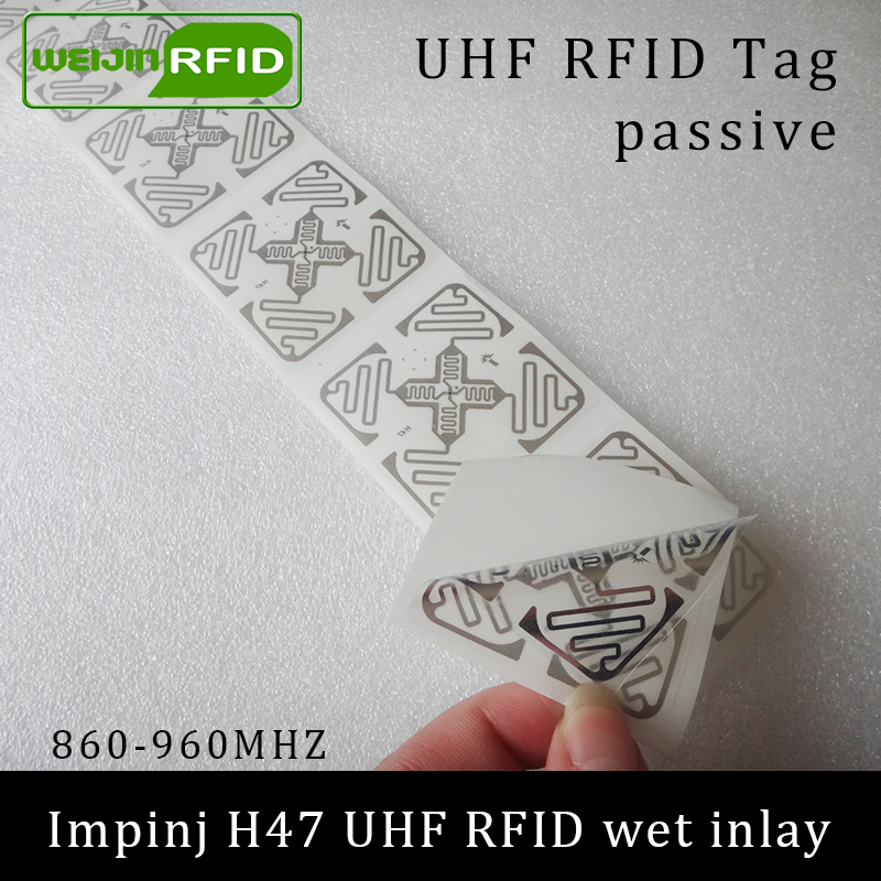 UHF RFID Tag Sticker Impinj H47 Wet Inlay 915mhz 900 868mhz 860-960MHZ  EPCC1G2 6C Smart Adhesive Passive RFID Tags Label