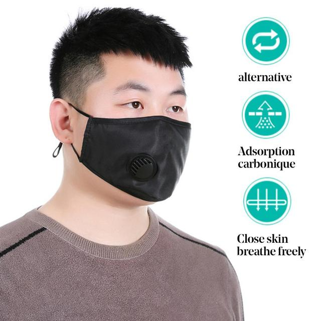 Pm2.5 cotton black mouth mask anti dust mask activated carbon filter windproof mouth-muffle flu-proof Protective face masks care