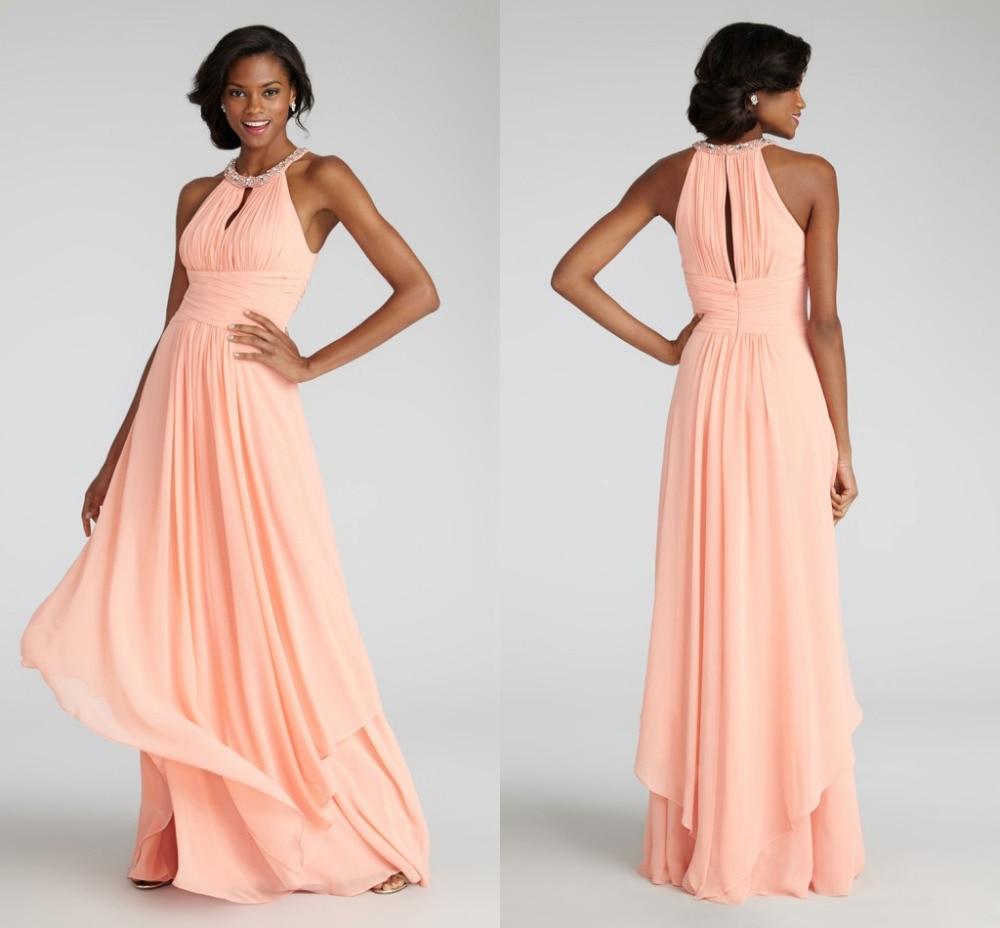 2018 Halter Chiffon Long Prom Elegant Customized Vestido De Noiva Casamento Party Hot Sale Cheap Bridesmaid Dresses