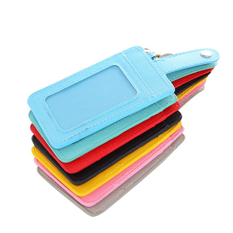 Solid Color Card Bag Wallet Keychain Women's Credit Card Package Traffic Card Set ID Passport Cover Three-card Small Holder