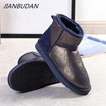 Jianbudan牛スエード雪のブーツ本革ぬいぐるみウォーム女性の印刷パターンビッグサイズの綿の靴冬のアンクルブーツ
