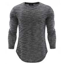 Men's T Shirt New Standard European Code Extended Round Sweep T-Shirt Curved Hem Long line Tops Hip Hop Urban Blank Quality 2019 black round neck long sleeves curved hem t shirt