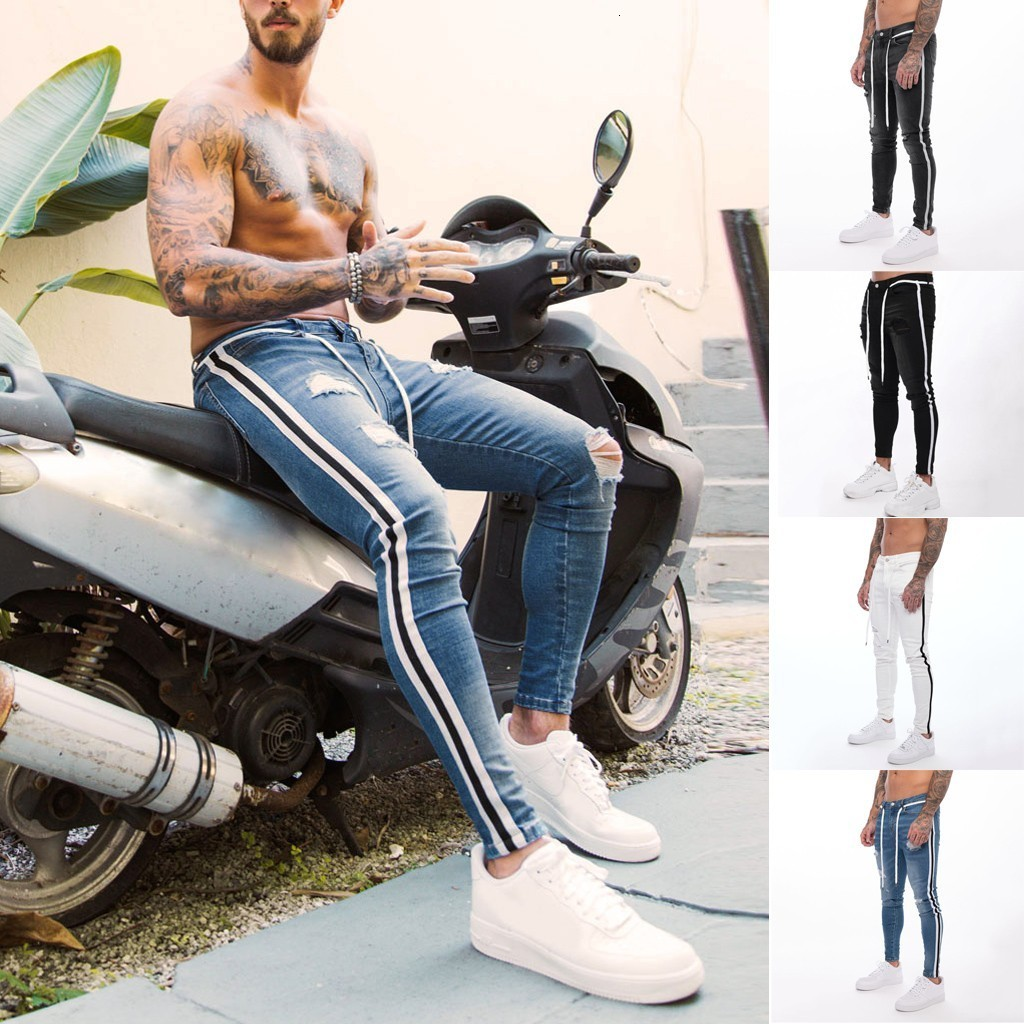 2019 New Men Joggers Male Trousers Casual Pant Men's Fashion Casual Denim Straight Hole Trouser Distressed Jean Long Pants S-3XL