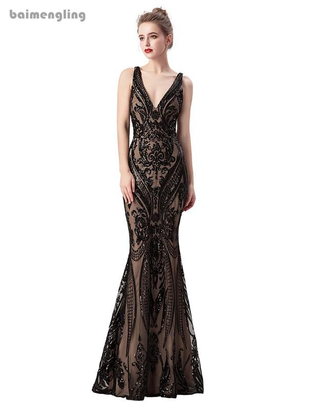 black evening dress, v-neck formal backless sparkle dress