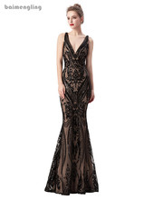 black evening dress, v-neck formal backless sparkle dress
