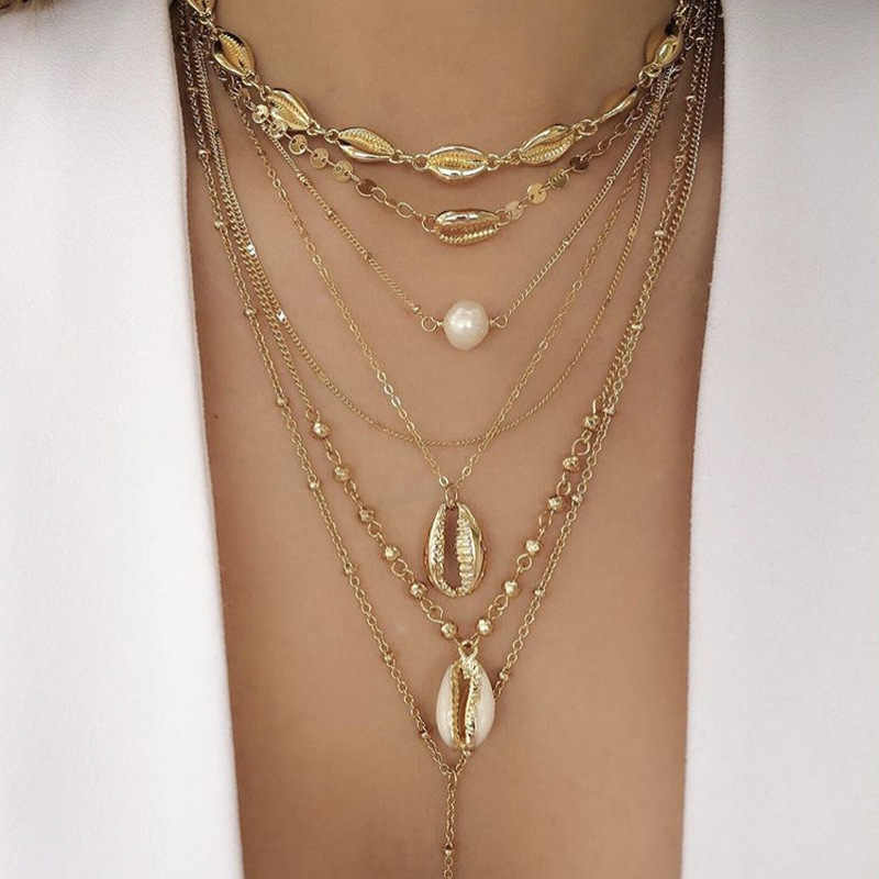 Vintage Gold Color Bead Cowrie Shell Choker Necklace for Women Coin Sequin Pendant Necklace Imitation Pearl Statement Collier