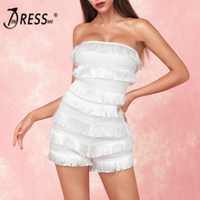 INDRESSME 2019 New Fashion Women Strapless Cascading Fringe Tassels Playsuits  Bodycon Casual Outing Bandage Jumpsuits White