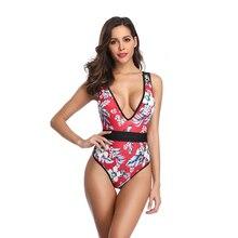 One Piece Swimsuit Women V Neck Floral Swimwear High Waist Monokini Swimsuit Plunge Cross Back Red Swim Wear Bathing Suit Female