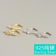 Fashion button S925 sterling silver tears set white round zircon wild ear clip female brincos white tears