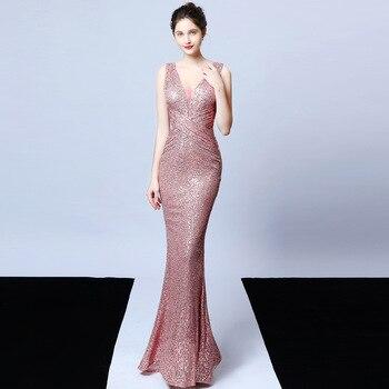 Luxury Sequined Evening Dress 2020 Banquet Elegant Long Gown Sequins Mermaid Robes Noble Abendkleid Party V Neck Robe De Soiree
