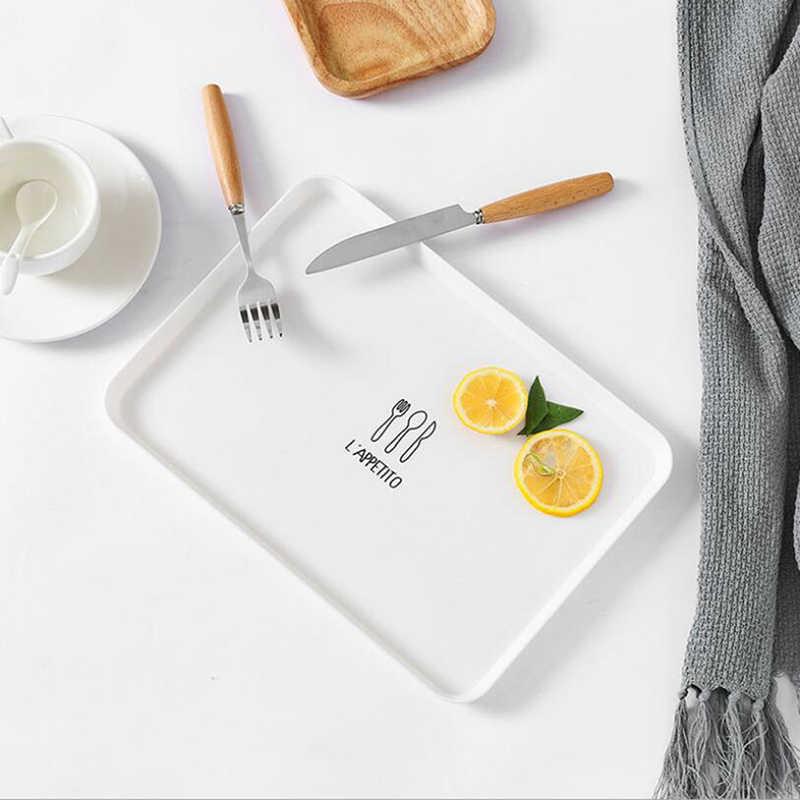Plastik Makanan Penutup Piring Persegi Panjang Hidangan Manis Snack Susu Hidangan Steak Piring Sarapan Makan Buah Cake Tray Pelayan Tray