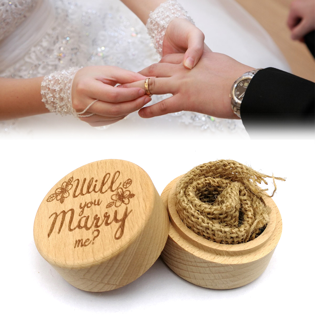 Delicate Wood Round Wedding Ring Box Container Will You Marry Me