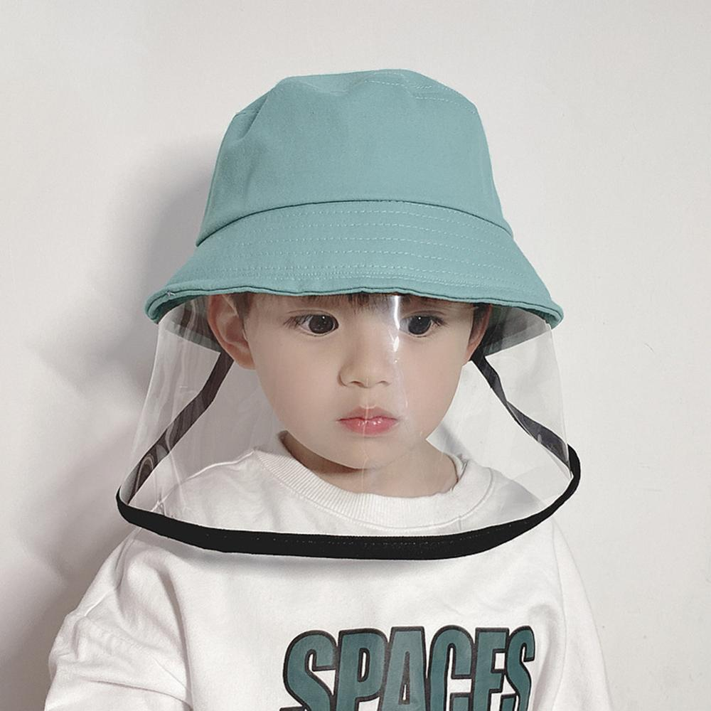 панамк Children Kids Bucket Hat With Wide Brim Visor Shield Transparent Face Full Face Covering Cover Sun Protection Cap Screen