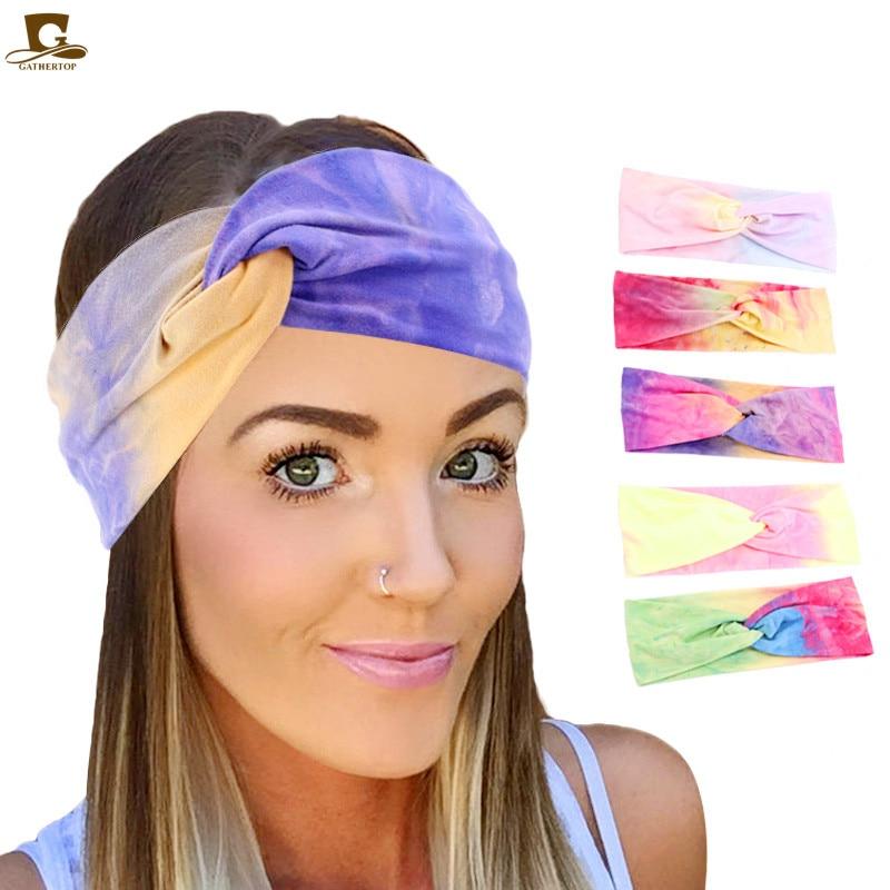New Tie-dye Cotton Headbands For Women Twist Elastic Hairbands Sport Headband Yoga Turban Headwrap Girls Hair Accessories