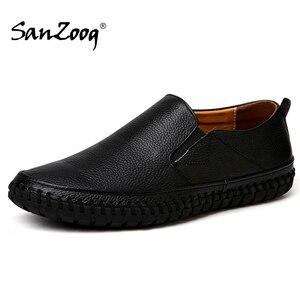 Image 1 - 가을 캐주얼 슬립 남성 가죽 신발 Mocassin Homme Moccasins Trend 2020 여름 운전 플러스 사이즈 49 50