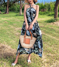 Spring and summer new style Printed halter dress Beach dress Tropical print dress Seaside dress