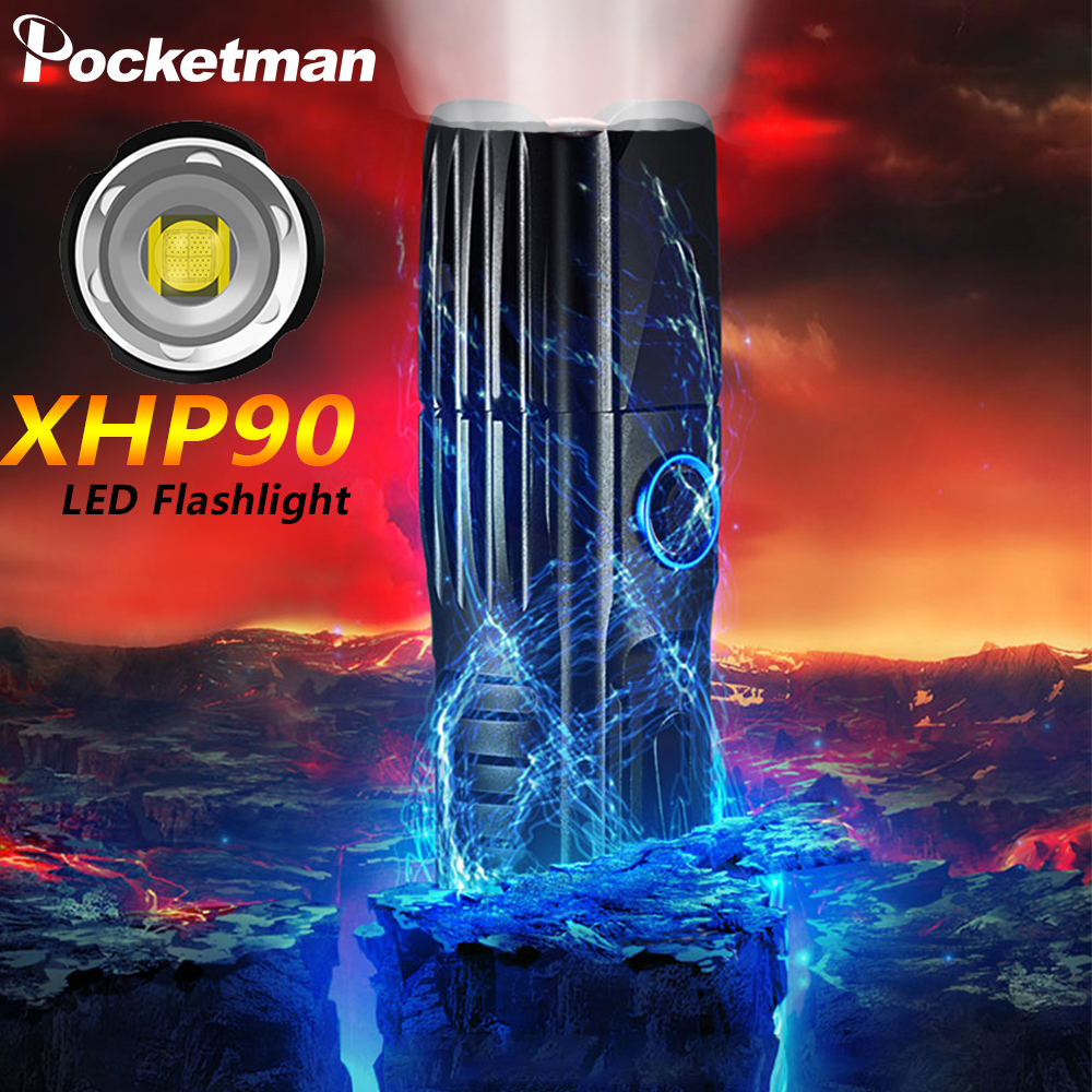 Most Powerful XHP90.2 LED Flashlight Xlamp Tactical Waterproof Torch Smart Chip Control With Bottom Attack Cone USB Rechargeable