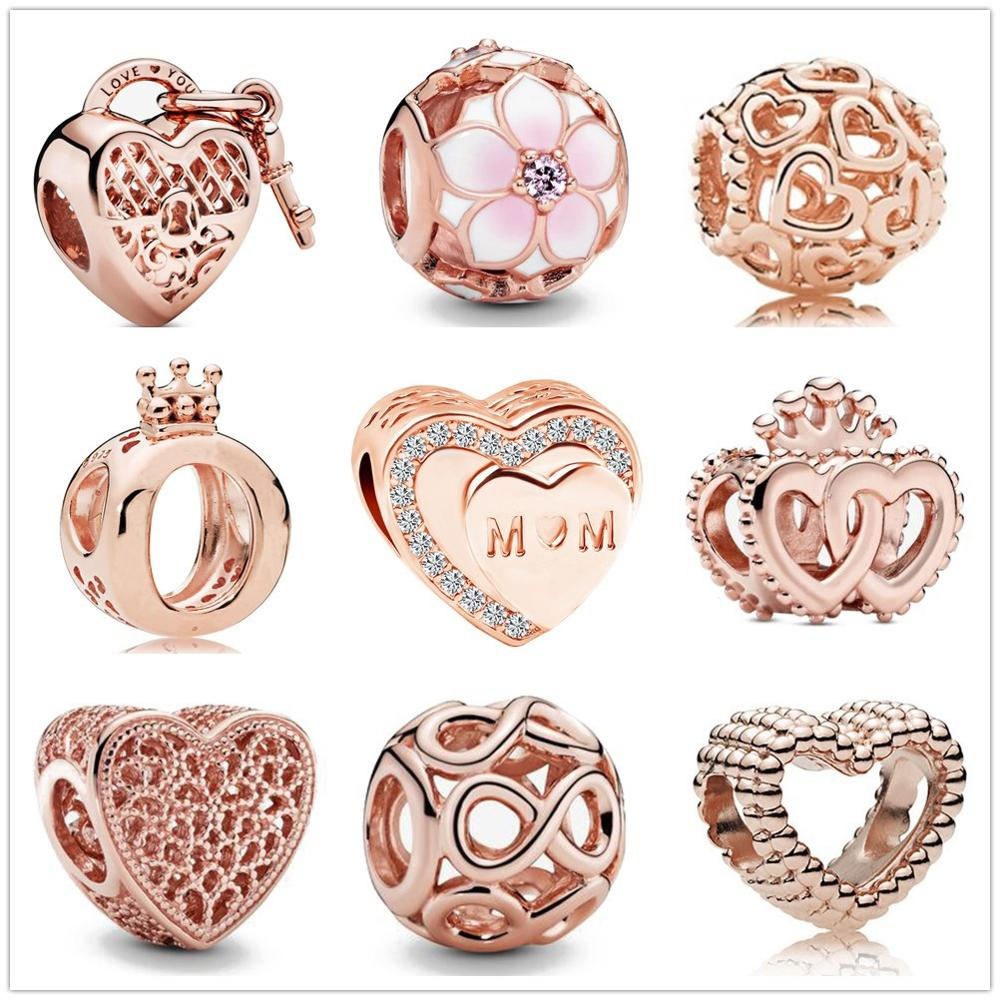 New Original 925 Sterling Silver Love You Heart Padlock MOM Bead Charms Rose Gold Fit Pandora charm Bracelets Women DIY Jewelry(China)