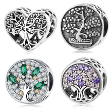 Tree of life Authentic 925 Sterling Silver Dazzling Clear Green zircon DIY beads Fit Original Charms Bracelets making