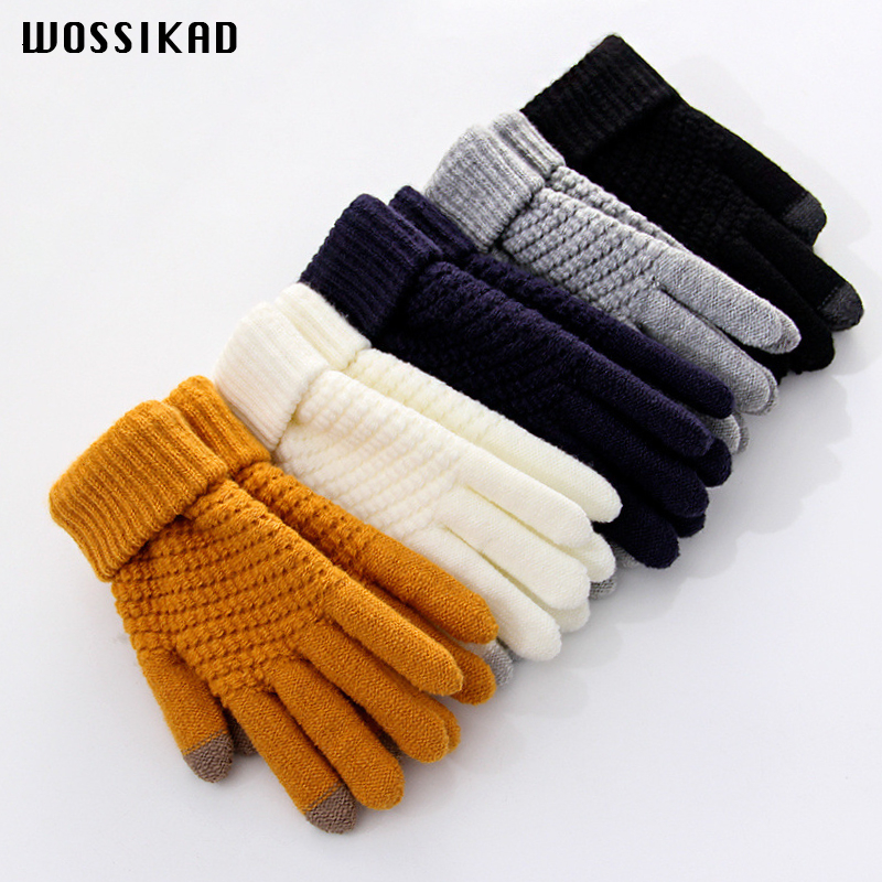 Glove Woman Winter Touch Screen Moda Invierno Mujer Thickening Keep Warm Increase Down Knitting The Five Fingers Wool Student Couple Gloves Promotion Winter Gloves Men Moda Invierno Mujer 2019 Guantes Invierno Mujer