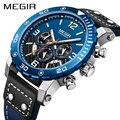 Спортивные часы мужские люксовый бренд MEGIR модные Chronograp кварцевые часы кожаный ремешок повседневные деловые наручные часы Мужские часы Reloje