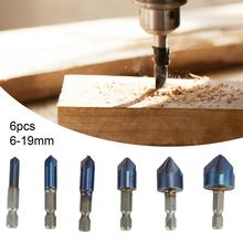 6Pcs 6-19mm Chamfer Drill Bits Rust-proof Five Cutting Edges Titanium Plating Assorted Chamfering Drill Bit Kit for Wood Board