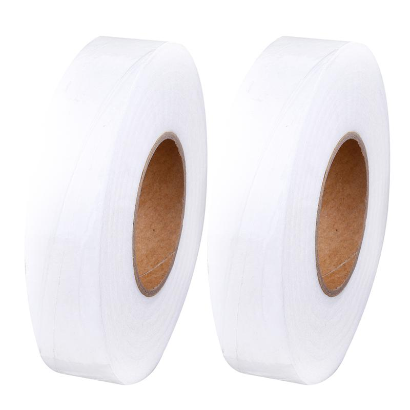 2Pcs White Double Sided Sewing Accessory Adhesive Tape Cloth Apparel Fusible Interlining Fabric Tape