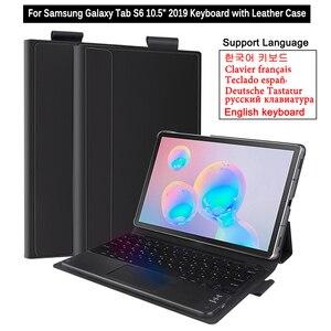 Image 1 - Pour Samsung Galaxy Tab S6 10.5 2019 étui avec clavier Touchpad tablette détachable Bluetooth étui pour Galaxy Tab S6 10.5