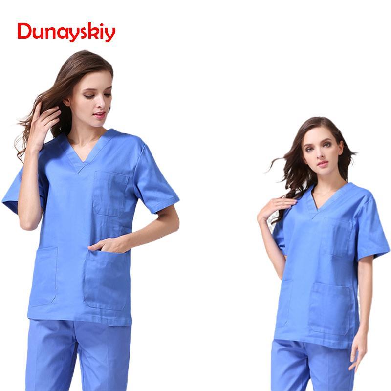 Europe Fashion Medical Suit Lab Coat Women Hospital Scrub Uniforms Sets Design Slim Fit Breathable Medical Uniform Scrub Sets