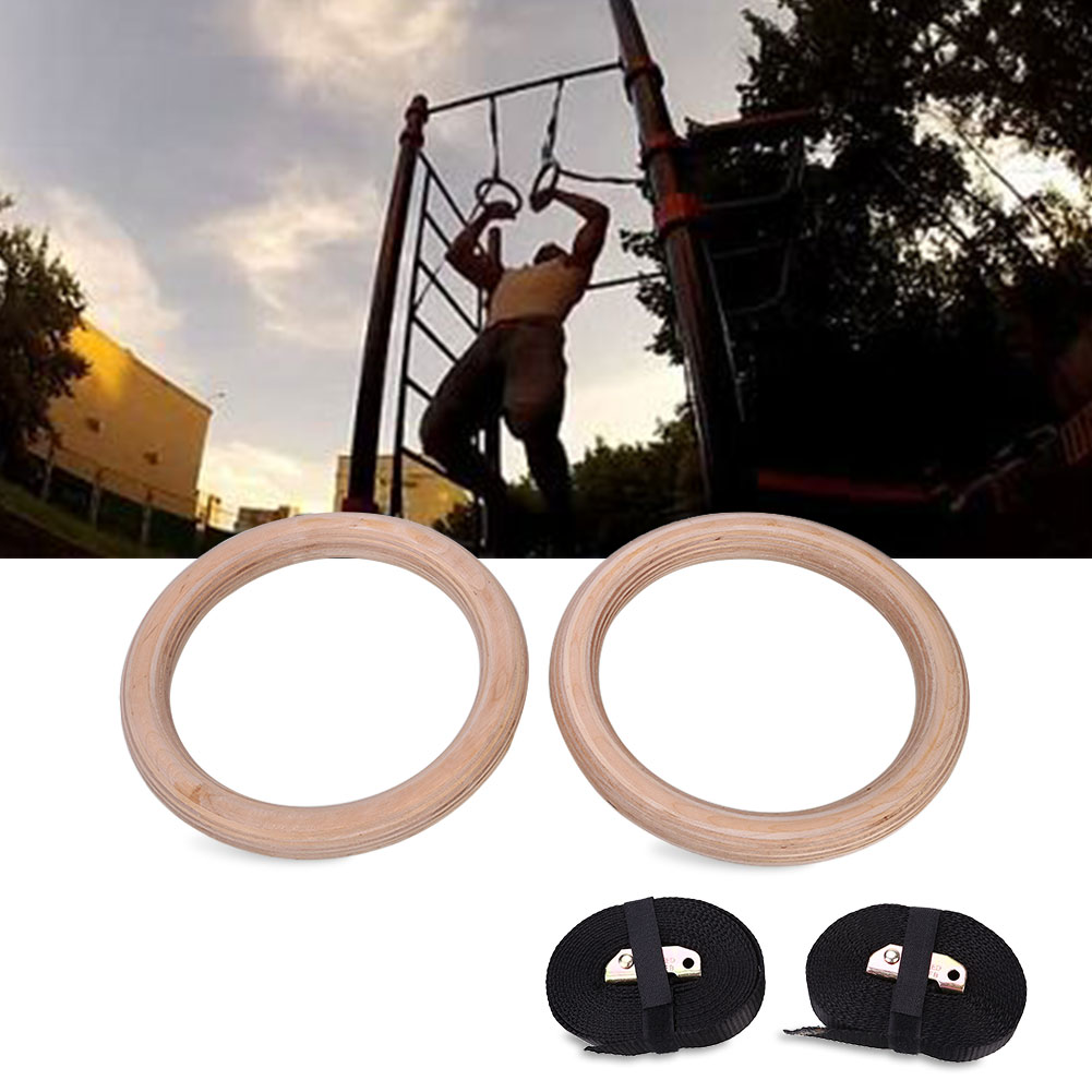 Wooden Fitness Gymnastic Ring Exercise Rings Rings Adjustable 2018 Entertainment